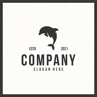 Dolphin logo , flying ,retro , vintage , black and white color concept
