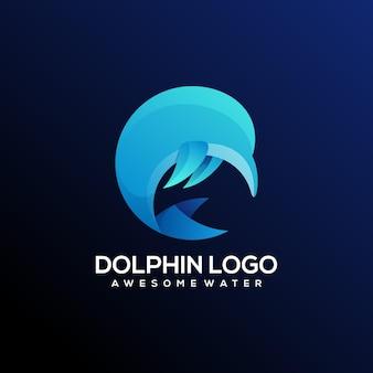 Дельфин логотип градиент аннотация красочный