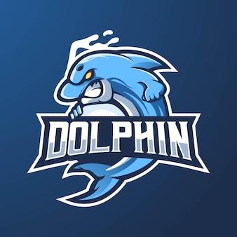 イルカのマスコットのロゴデザイン