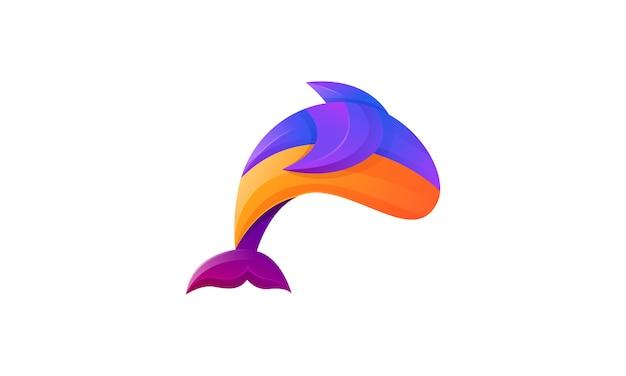 イルカモダングラデーションカラフルなロゴ
