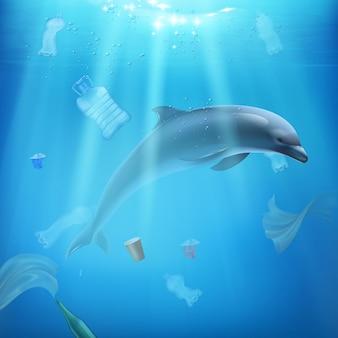 Delfino e inquinamento nell'illustrazione realistica del mare
