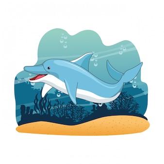 Dolphin in the sea cartoon scenery