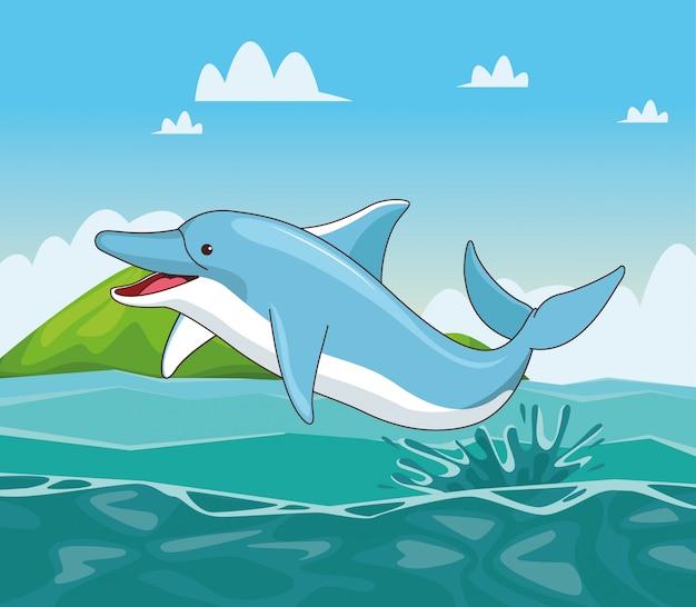 Dolphin in the sea cartoon