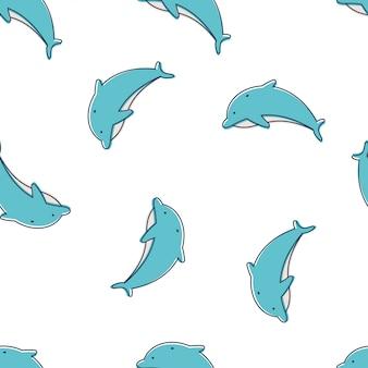 壁紙、ラッピング、パッキング、および背景の白い背景の上のイルカのシームレスなパターン。