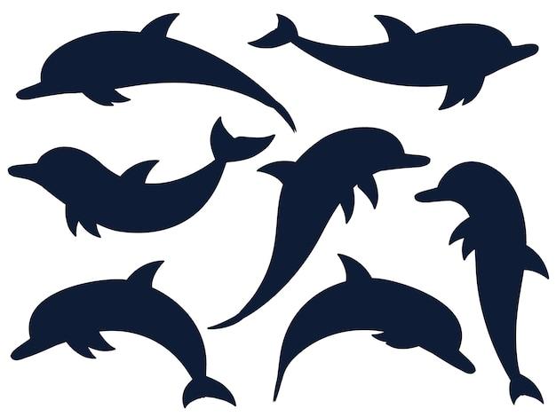 Коллекция силуэтов дельфинов