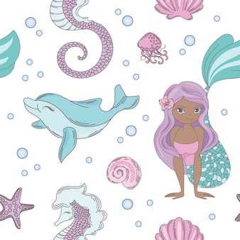 Dolphin smile mermaid seamless pattern