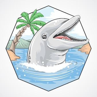 Dolphin summer beach coconut vector