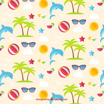 Dolphin and summer elements pattern