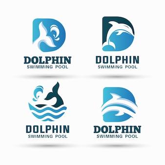 돌고래 수영장 로고 디자인