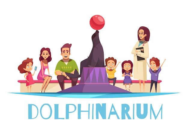 Dolphinarium with families and a seal