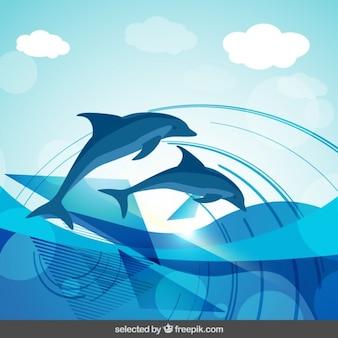 Дельфины абстрактный фон