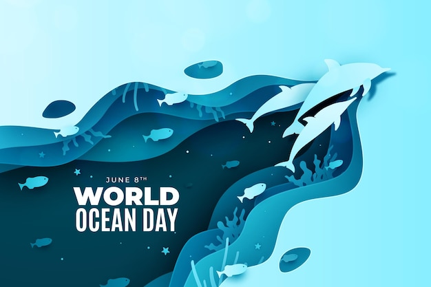 Dolphins in paper style world ocean day