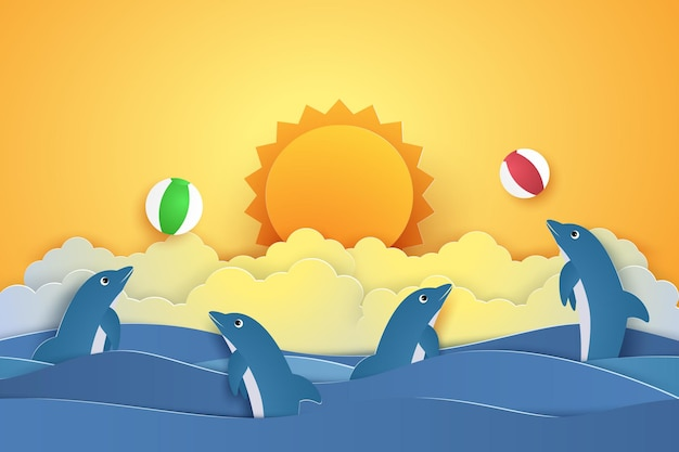 Dolphins playing with ball for summer time concept in paper art style