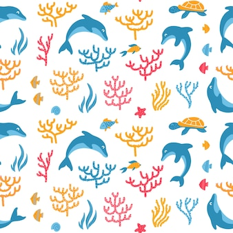 Dolphins and turtles seamless pattern
