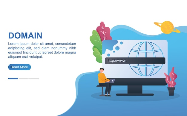 Domain concept for landing page or web banner.