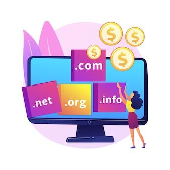 ドメインフリッピングの抽象的な概念図。ドメインの変更、ドメイン間の切り替え、インターネットビジネス、高額での名前の購入、ウェブサイトの登録、ウェブホスティング