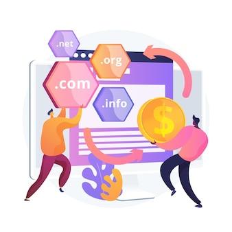 도메인 뒤집기 추상적 인 개념 그림입니다. 도메인 변경, 도메인 전환, 인터넷 비즈니스, 고가로 이름 구매, 웹 사이트 등록, 웹 호스팅