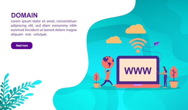 Domain illustration concept with character. landing page template