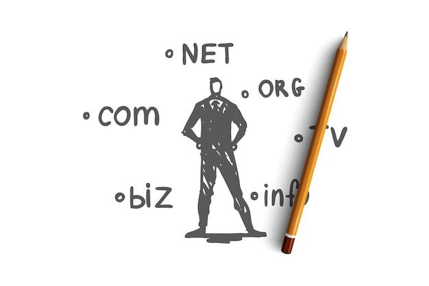 도메인, 인터넷, 이름, 웹, 호스팅 개념. 손으로 그린 된 도메인 이름 및 기술 전문가 개념 스케치.