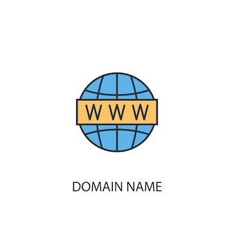 Domain name concept 2 colored line icon. simple yellow and blue element illustration. domain name concept outline symbol design