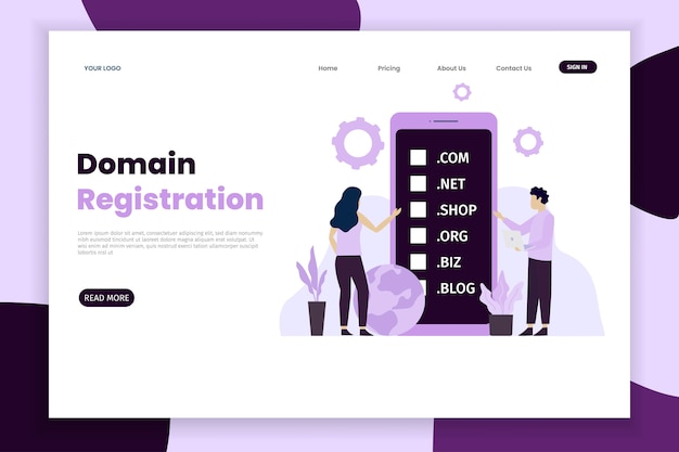 Domain name and registration concept landing page with phone