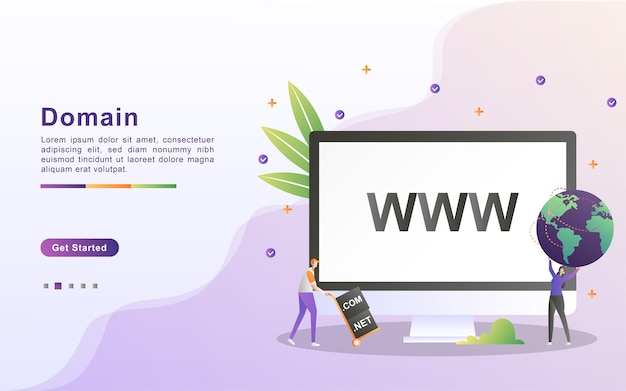 Domain name and registration concept.