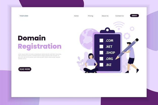 Domain registration concept landing page with character