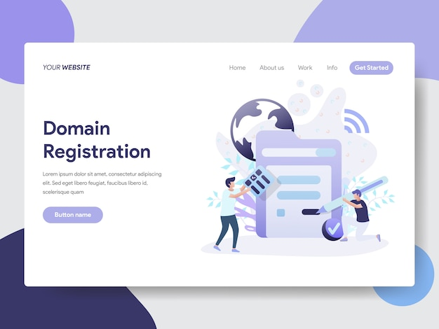 Domain registration illustration for web pages