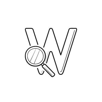 文字wと拡大鏡の手描きのアウトライン落書きアイコンでドメイン検索。検索エンジン、ウェブ検索のコンセプト。白い背景の上の印刷、ウェブ、モバイル、インフォグラフィックのベクトルスケッチイラスト。