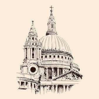 ロンドンのセントポール大聖堂のドーム。ベージュの背景にスケッチします。