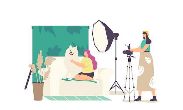 Domestic animal photo session, pets photography shoot. photographer female character make photo of girl hugging dog sitting on sofa in professional studio with equipment. cartoon vector illustration
