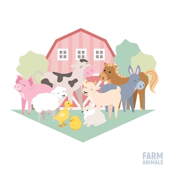 Domestic animals on a farm cow pig lamb donkey