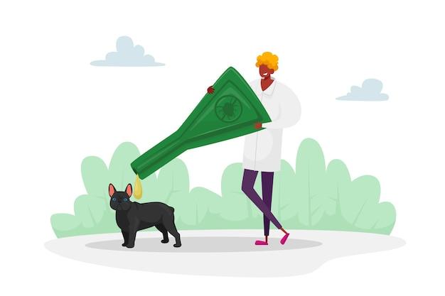 家畜の寄生虫保護。犬の脳炎ダニに対する男性キャラクターの滴り落ちる。医者は植物に住むダニや有毒昆虫のペットを保護します。漫画
