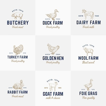 Domestic animals and poultry retro  logo templates set.