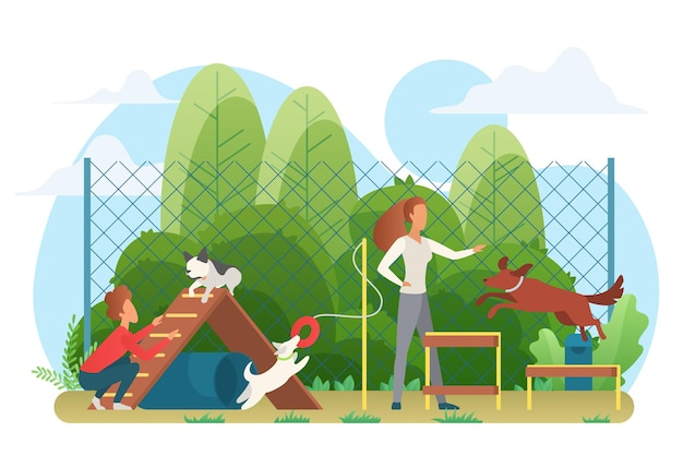 Domestic animals training and playing with people