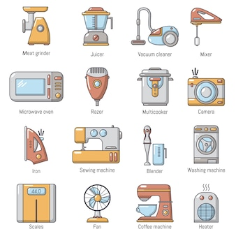 Domestic appliances icons set