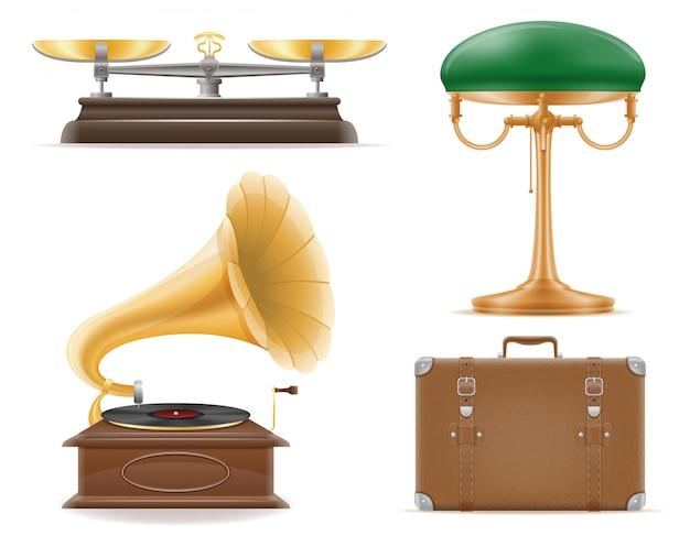 Domestic appliances old retro vintage set vector illustration