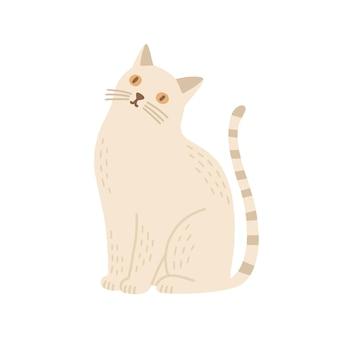 飼い猫フラットベクトルイラスト。幼稚なぬいぐるみ、子供のおもちゃ、室内装飾要素。座っている子猫、家畜。白い背景で隔離の縞模様の尾を持つかわいい漫画のペット。