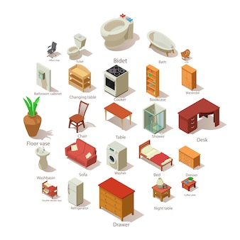 Domestic furniture icons set, isometric style