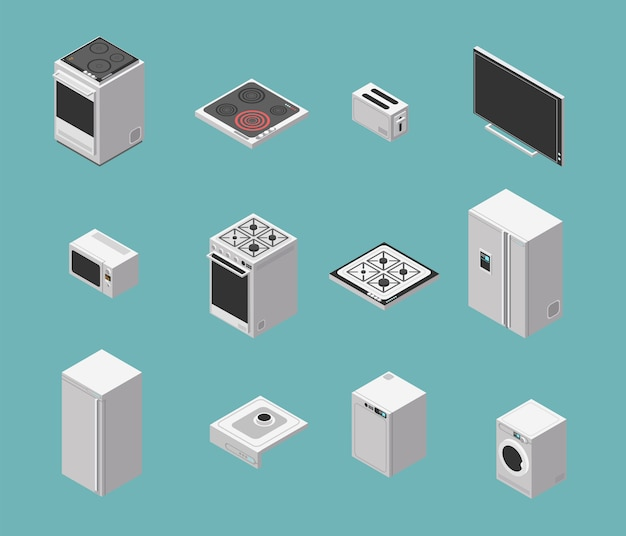 Domestic and kitchen appliances isometric  icons set