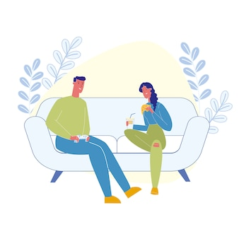 Domestic leisure, pastime flat vector illustration