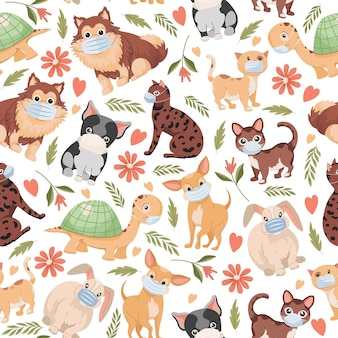 Domestic pets flat seamless pattern isolated on white