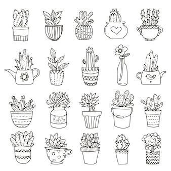 Domestic plants icon set