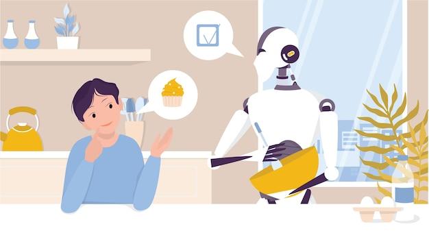 子供のためのキッチンで調理する家庭用ロボット。人を助けるためのパーソナルロボット。 aiは人々の生活、将来のテクノロジー、ライフスタイルのコンセプトを支援します。図