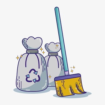 Domestic service equipment to clean house vector illustration