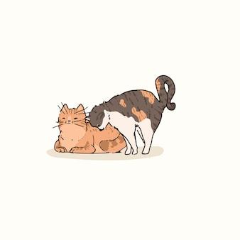 Elemento di doodle di gatti domestici a pelo corto
