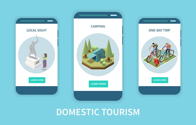 Domestic tourism vertical isometric app screens set with local sight campsite and people taking bike trip