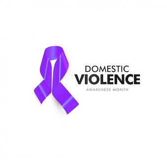 Domestic violence and aggression. home abused victim support banner. isolated purple ribbon against home abuse