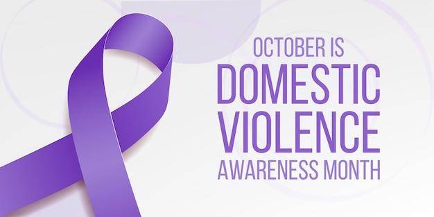 Концепция месяца осведомленности о домашнем насилии. баннер с фиолетовой лентой осведомленности и текста. векторная иллюстрация.