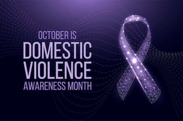 Концепция месяца осведомленности о домашнем насилии. шаблон баннера с светящейся низкой поли фиолетовой лентой. футуристический современный абстрактный фон. векторная иллюстрация.